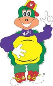 A green and purple cartoon turtle waving